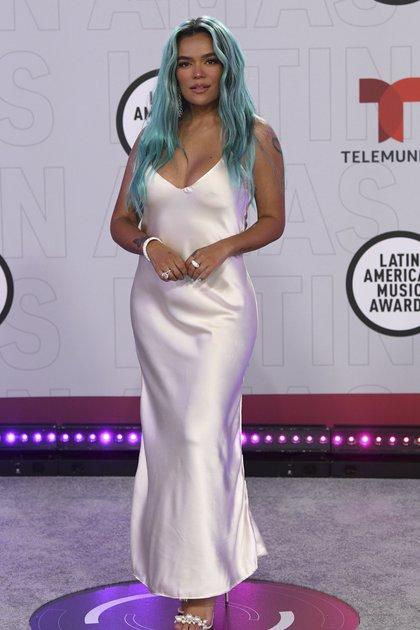Karol G arrives at the Latin American Music Awards at the BB&T Center on Thursday, April 15, 2021, in Sunrise, Fla. (AP Photo/Taimy Alvarez)