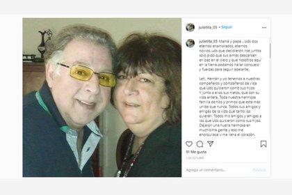 Las sentidas palabras que Julieta le dedicó a sus padres en las redes sociales