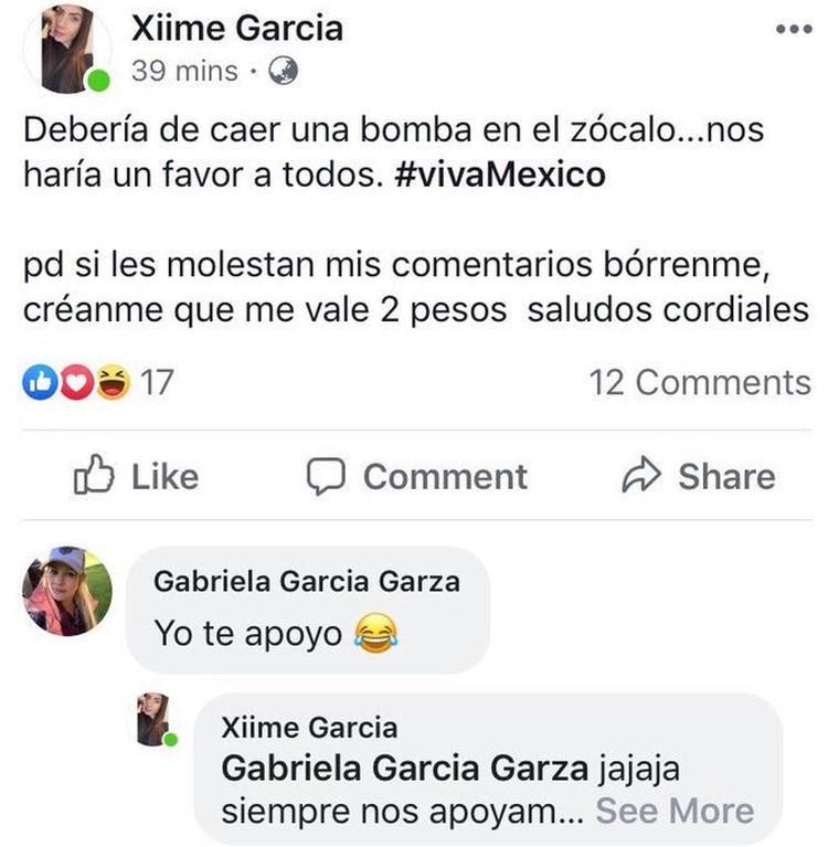 El mensaje que encendió las redes sociales (Foto: Facebook/ Xiime García)