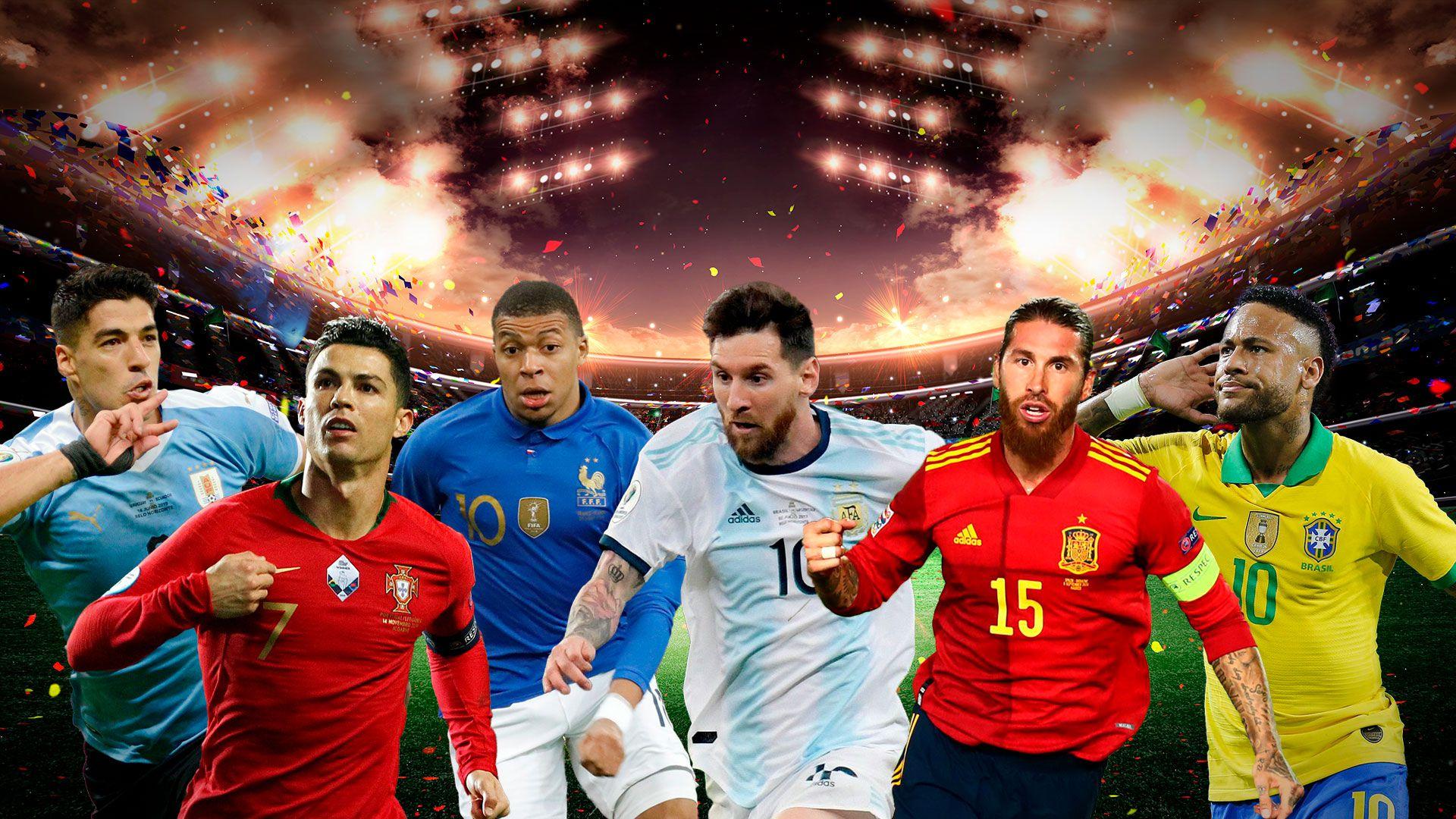 Cristiano Ronaldo, Luis Suárez, Sergio Ramos, Lionel Messi, Neymar y Mbappe