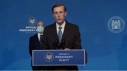 Captura de pantalla de Jake Sullivan, elegido por Joe Biden como asesor de Seguridad Nacional durante una conferencia de prensa en Wilmington, Delaware (EE.UU.), este 24 de noviembre de 2020. EFE/OFFICE OF THE PRESIDENT ELECT