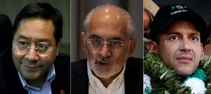 Los tres candidatos con chances: Luis Arce, el candidato de Evo Morales; el ex presidente Carlos Mesa; y Luis Fernando Camacho, quién lideró la rebelión hace un año