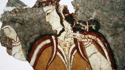 Fragmento del retrato de una mujer de Micenas, en Grecia