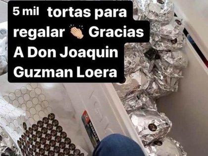 Las imágenes de las tortas etiquetadas con las iniciales JGL fueron repartidas presuntamente a las afueras de un hospital (Foto: Twitter)