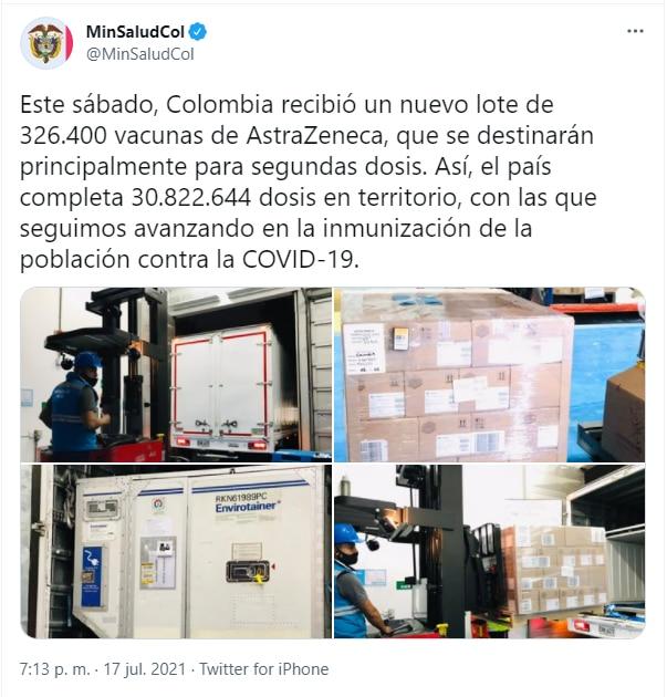 Vacunas Colombia 17 de julio
