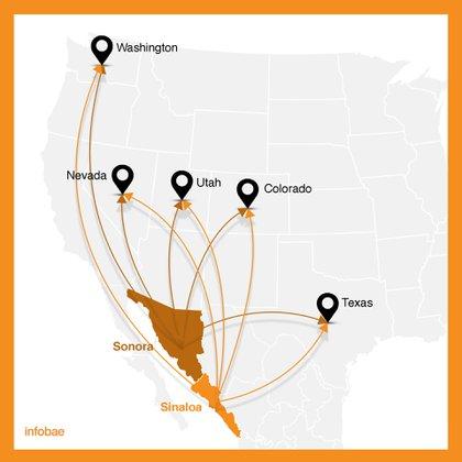 Mapa de los principales puntos de operación del grupo criminal independiente González Peñuelas, designado en la lista negra del Departamento de Tesoro de EEUU (Mapa: Infobae México)