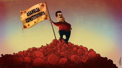 El poder de Maduro puede quedar en disputa en el seno del chavismo (Ilustración: Rodrigo Aceveo Musto)