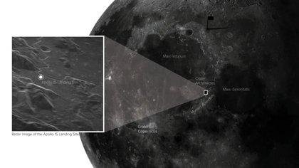Las onda de radas lograron captar con impresionante nivel de detalle el lugar exacto donde alunizó el Apolo 15 en 1971. (Sophia Dagnello, NRAO / GBO / Raytheon / AUI / NSF / USGS)