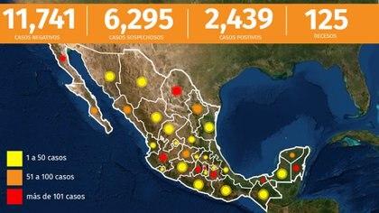 El país superó el centenar de muertos y ya son 125 fallecidos por coronavirus en México (Infografía: Infobae México)