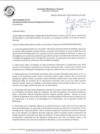 "Primera parte del ""decálogo michoacano"" para Morena (Foto: Twitter / @letroblesrosa)"