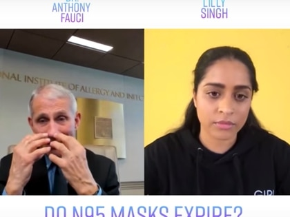 Anthony Fauci y Lilly Singh Foto: captura de pantalla de YouTube - Lilly Singh