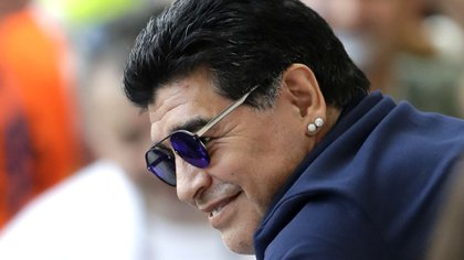 Argentinian soccer legend Diego Armando Maradona smiles prior to the round of 16 match between France and Argentina, at the 2018 soccer World Cup at the Kazan Arena in Kazan, Russia, Saturday, June 30, 2018. (AP Photo/Sergei Grits)