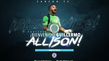 Cancún FC presentó a Guillermo Allison como su nuevo portero (Foto:  Twitter/ @cancun_fc)