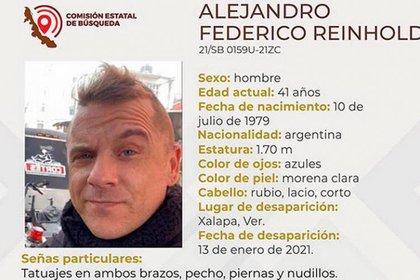 Alejandro Federico Reinhold, ciudadano Argentino, es buscado por autoridades en Veracruz (Foto: Cortesía)