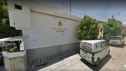 Fachada de la estación de Policía municipal en Chaparral, Tolima.