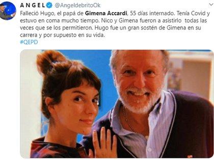 Ángel de Brito anunció en sus redes sociales la noticia sobre la muerte del papá de la actriz Gimena Accardi