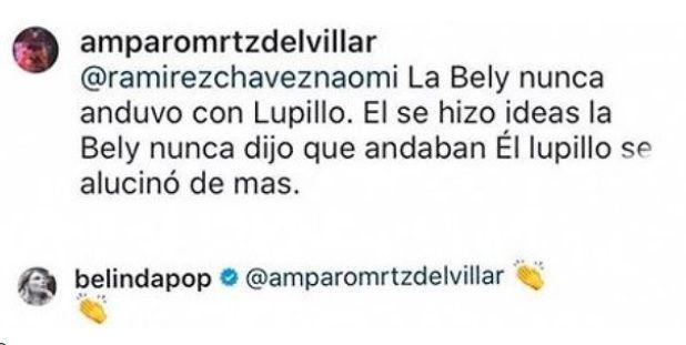 Belinda mensaje Lupillo alucinó