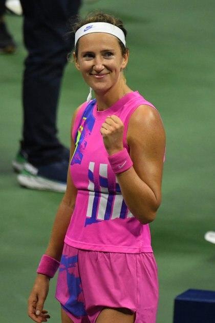 Victoria Azarenka muestra toda su felicidad luego de eliminar a Serena Williams en las semifinales del Abierto de los Estados Unidos (Danielle Parhizkaran-USA TODAY Sports)