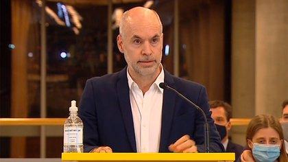 Horacio Rodríguez Larreta en la conferencia de prensa de ayer