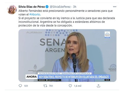 El tuit de la senadora Silvia Elías de Pérez