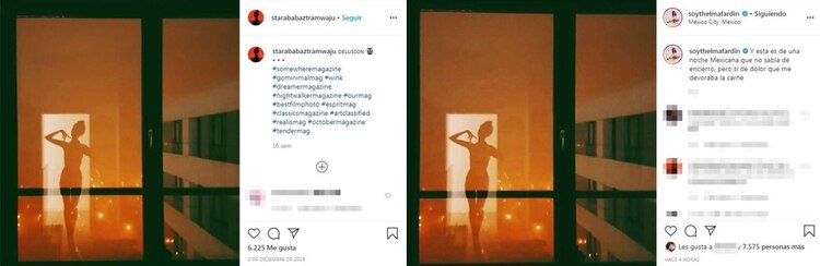Original (izquierda) y copia (derecha): los posteos de Magda Nalecz y Thelma Fardin, respectivamente