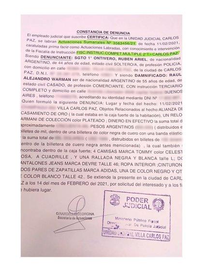El extracto de la denuncia donde se detallan los objetos que le faltaban a Alejandro Warman al retirar sus pertenencias del hotel