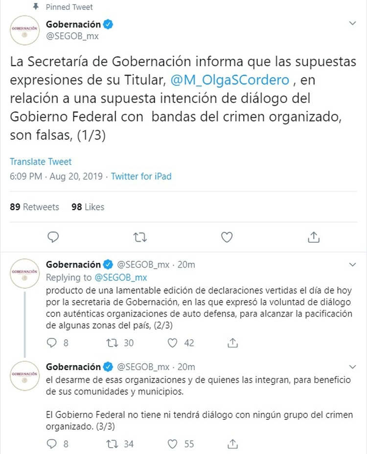 Columna Armada Pedro José Mendez (grupo ciudadano expulsa a narcos del municipio de Hidalgo, Tamaulipas) Segob_tuits