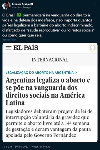 La publicación de Araújo. (Twitter @ernestofaraujo)