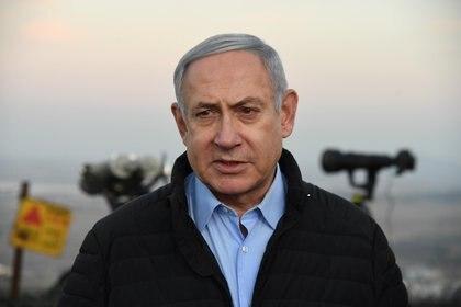 Benjamin Netanyahu en una base militar en los Altos del Golán (Haim Zach/GPO/dpa)
