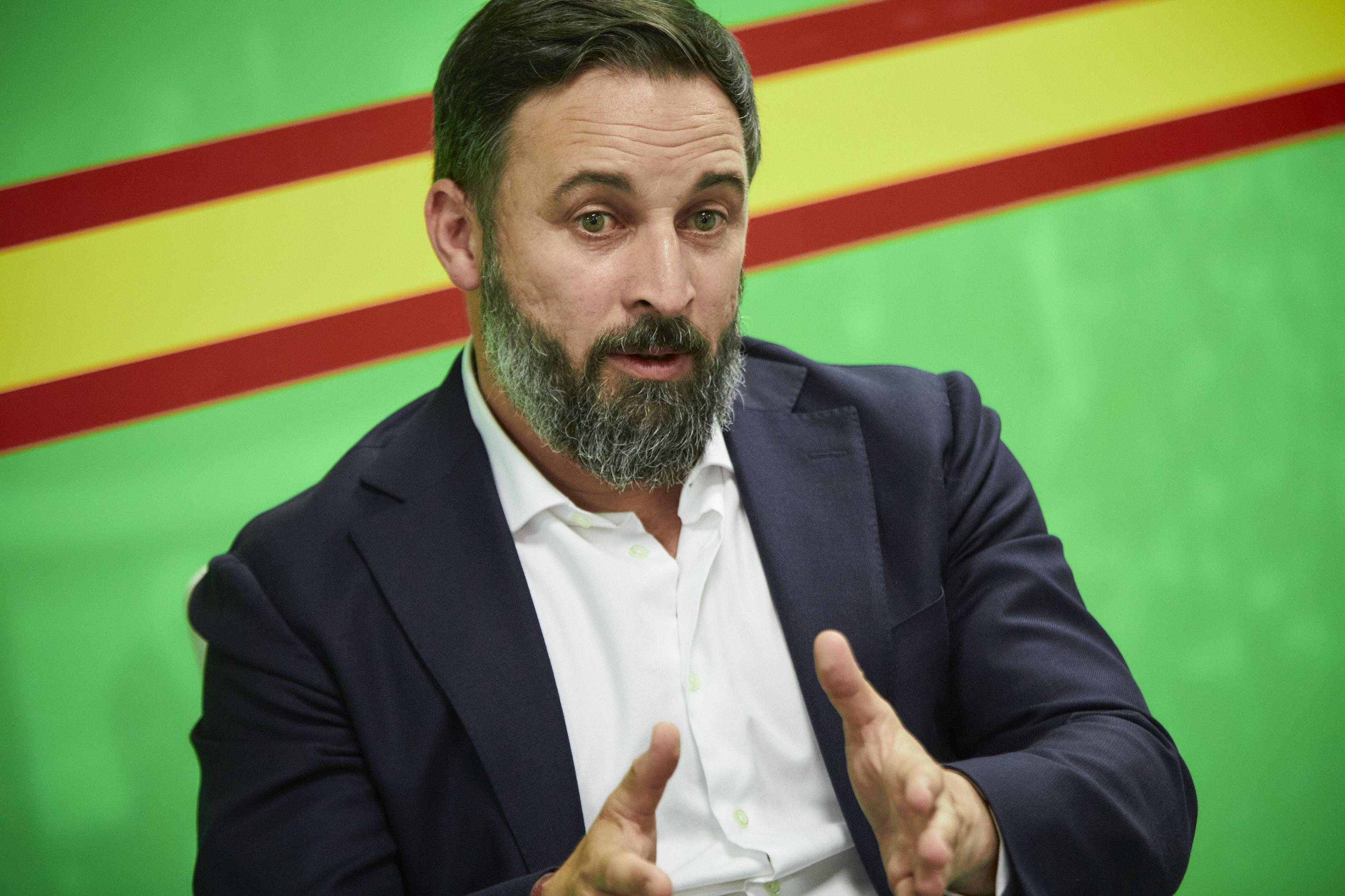 04/08/2020 El presidente de Vox, Santiago Abascal, durante una entrevista con Europa Press en la sede del partido, en Madrid (España) a 4 de agosto de 2020. POLITICA  Jesús Hellín - Europa Press