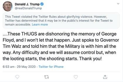 Captura de pantalla del tuit realizado por el presidente de Estados Unidos, Donald Trump, publicado el 29 de mayo de 2020. Twitter/@realDonaldTrump vía REUTERS.