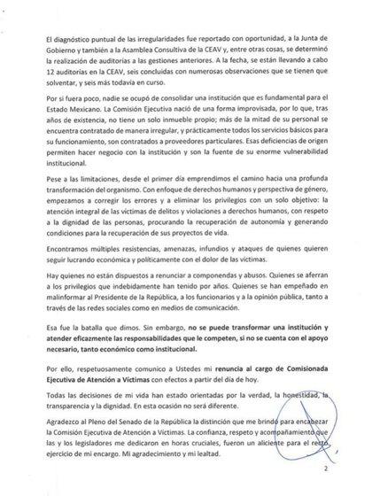 Segunda parte de la carta de la renuncia de Gómez Pérez al CEAV (Foto: Cortesía)