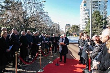 El Presidente de Albania, Ilir Meta, al inaugurar el Memorial Casa de Vida en Tirana, en enero de 2019 (Oficina de la Presidencia de Albania)