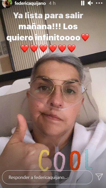 Federica Quijano afirmó que se encuentra lista para regresar a casa (Captura de Pantalla: Instagram de Federica Quijano)