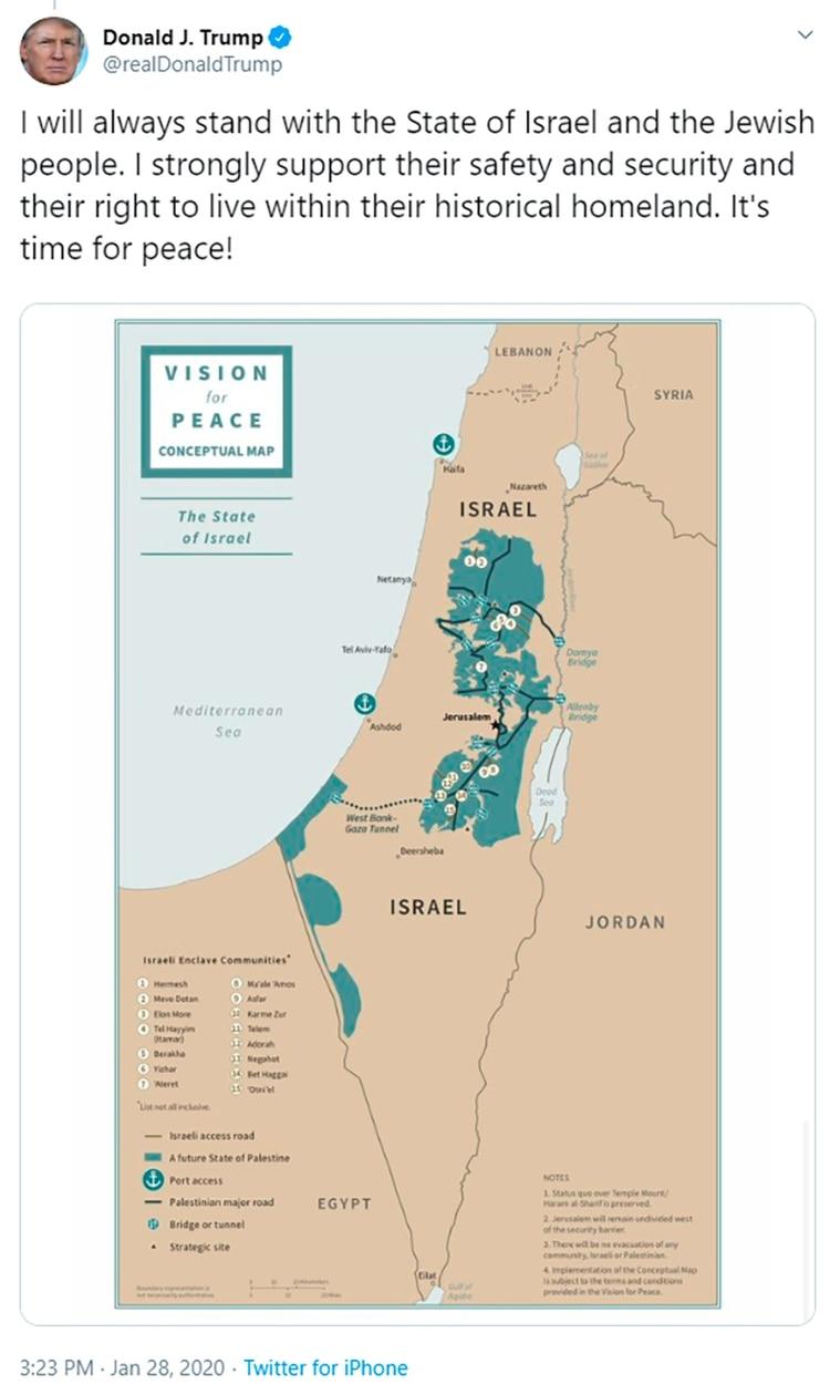 El presidente Donald Trump difundió un mapa con su propuesta para la región