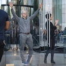NEW YORK, NY - SEPTEMBER 20: Apple CEO Tim Cook waves to customers before they enter Apple's flagship 5th Avenue store to purchase the new iPhone 11 on September 20, 2019 in New York City. Apple's new iPhone 11 goes on sale today at the grand re-opening of the 5th Avenue store. Drew Angerer/Getty Images/AFP
