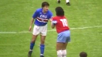 El 24 de marzo de 1991, en el Estadio Luigi Ferraris, fue la última función de Diego Maradona con la camiseta del Napoli. Esa remera actualmente la tiene Roberto Mancini, actual entrenador de la Selección de Italia