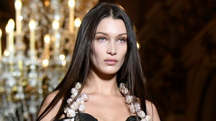 Model Bella Hadid presents a creation by designers Vivienne Westwood and Andreas Kronthaler as part of their Fall/Winter 2020/21 women's ready-to-wear collection show during Paris Fashion Week in Paris, France February 29, 2020. REUTERS/Piroschka van de Wouw