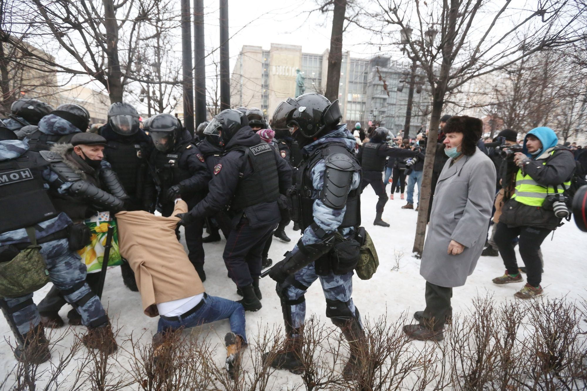Riot police detain a supporter of Alexey Navalny, Russian opposition leader, during a demonstration in Moscow, Russia, on Saturday, Jan. 23, 2021. Navalny is Russia's most prominent opposition figure, an anti-corruption investigator whose exposés have targeted President Vladimir Putin's inner circle.