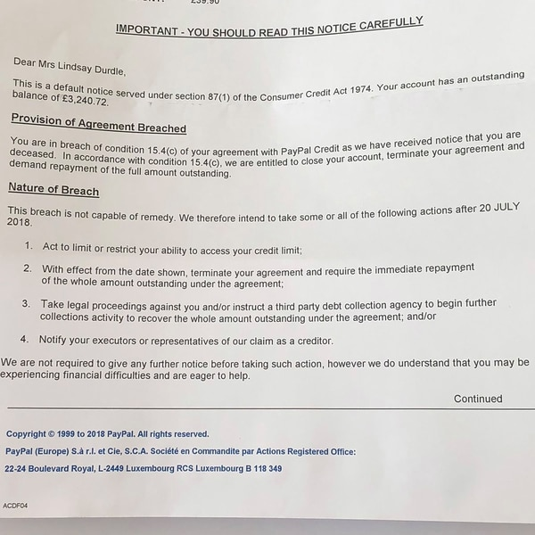 La insólita y desalmada carta que PayPal envió a una usuaria ¡muerta ...