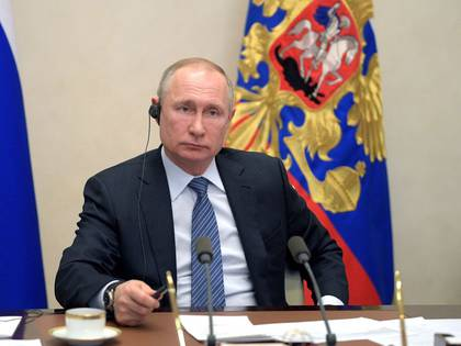 Russian President VladimirPutin takes part in a video link, held by leaders from the Group of 20 to discuss the coronavirus pandemic and its economic impacts, at his residence outside Moscow, Russia March 26, 2020. Sputnik/Kremlin via REUTERS