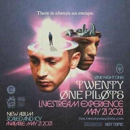 Cartel oficial del próximo álbum y show vía streaming de Twenty One Pilots (Foto: Instagram / @twentyonepilots)