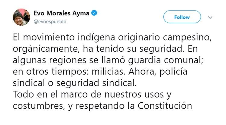 Uno de los últimos tuits de Evo Morales en el que sustenta la idea de armar milicias populares como en Venezuela