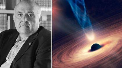A la izquierda, Luis Felipe Rodríguez; a la derecha una ilustración de un hoyo negro (Foto: izq. Sitio Web Colnal/Shutterstock)