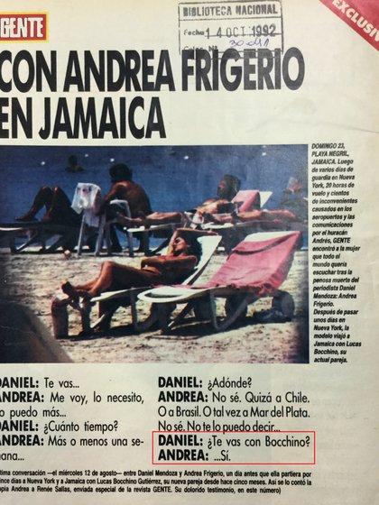 La revista Gente reprodujo el diálogo en el que Frigerio le cuenta a Mendoza que se va de vacaciones con Bocchino