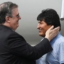 Bolivia's ousted President Evo Morales is welcomed by Mexico's Foreign Minister Marcelo Ebrard during his arrival to take asylum in Mexico, in Mexico City, Mexico, November 12, 2019. REUTERS/Edgard Garrido TPX IMAGES OF THE DAY