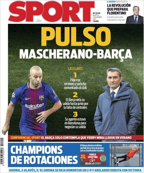 El conflicto entre Javier Mascherano y el Barcelona, en la portada de Sport
