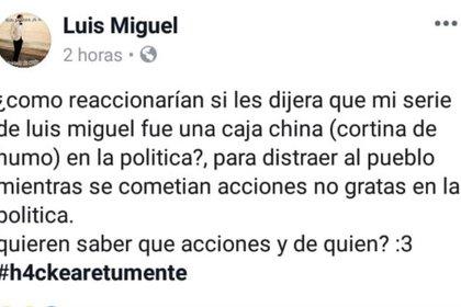 Varios mensajes se publicaron en la cuenta de Facebook de Luis Miguel