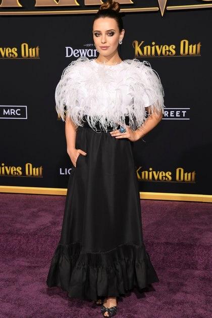 """Katherine Langford en la premiere de """"Knives Out"""" en Los Angeles, en noviembre de 2019 (Crédito: Phil McCarten / Reuters)"""