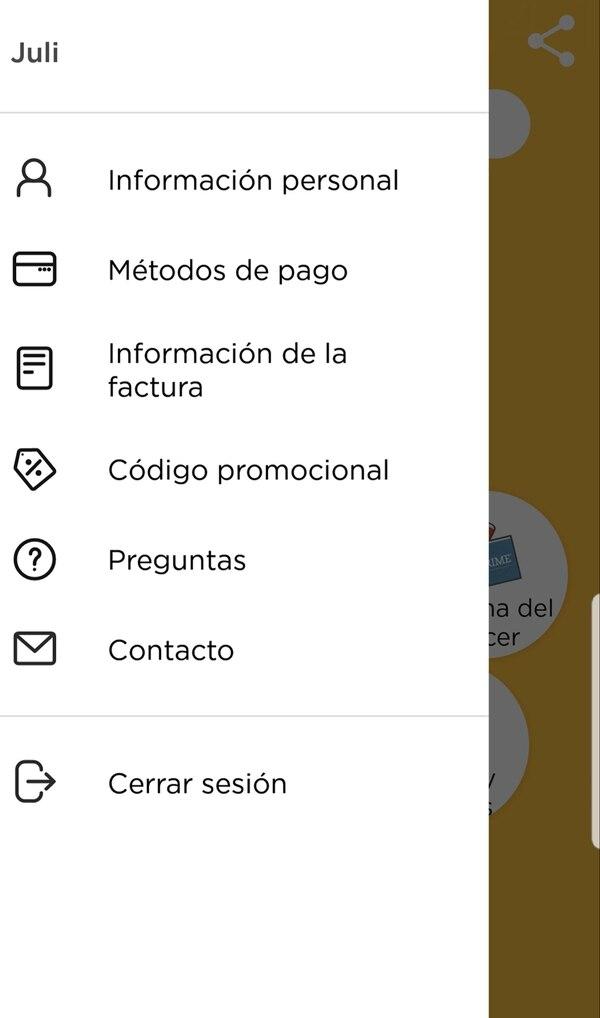 """Opción """"Contacto"""" en la app"""